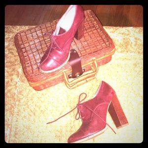 Maroon oxford lace up heels